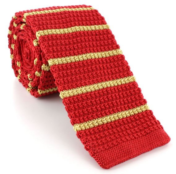 Michelsons of London Silk Knitted Striped Skinny Tie Yellow//Red
